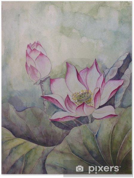 Poster Prachtige bloeiende lotus - Bloemen en Planten