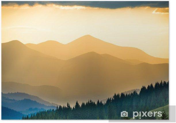 Poster Prachtige zonsondergang in de bergen - Ontspanning