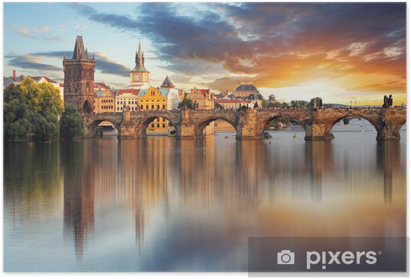Poster Prag - Karlsbron, Tjeckien - Prag