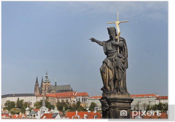 Poster Prague, le pont Charles à Prague et Hradcany Château -