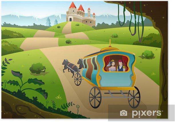 Prince and princess riding a wagon Poster - Destinations