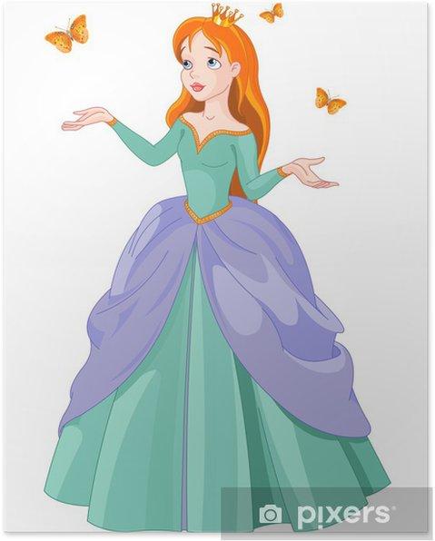 Poster Prinses en vlinders - Muursticker