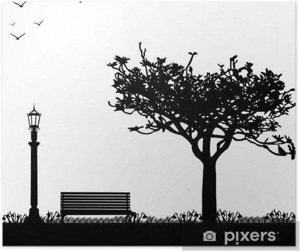 Poster Printemps dans le parc, la première silhouette de fleurs de printemps perce-neige- - Saisons