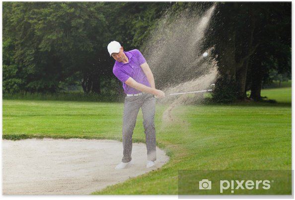 Póster Pro golfista bunker tiro - Golf