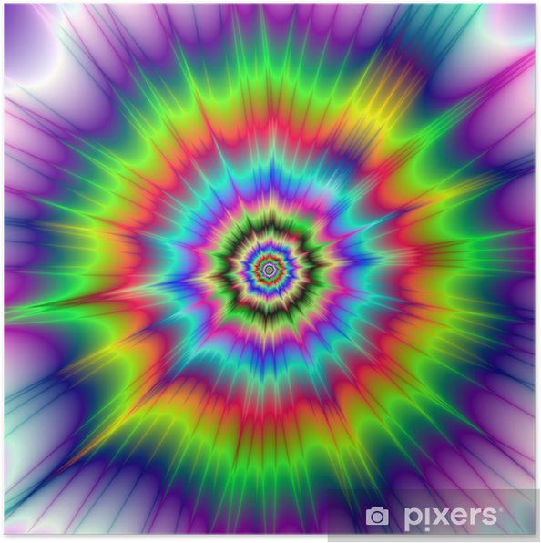 Psychedelic Color Explosion / A digital abstract fractal image with a colorful psychedelic explosion design in red, green, blue, violet and yellow. Poster - Backgrounds