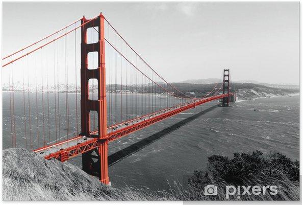 Póster Puente Golden Gate Pop roja en B - iStaging