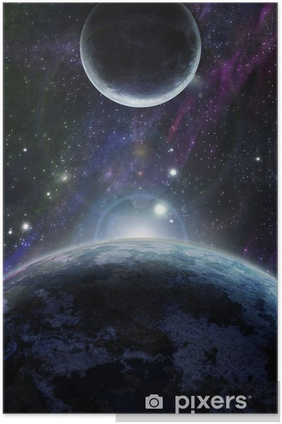 Póster Puesta de sol con dos planeta azul - Universo