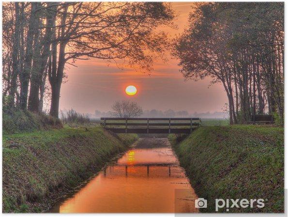 Póster Puesta del sol sobre el puente - Ciudades europeas