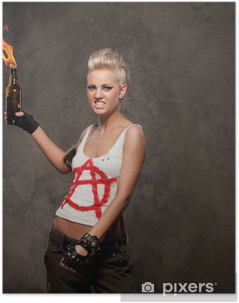 Punk girl with a Molotov cocktail. Poster - Teenagers