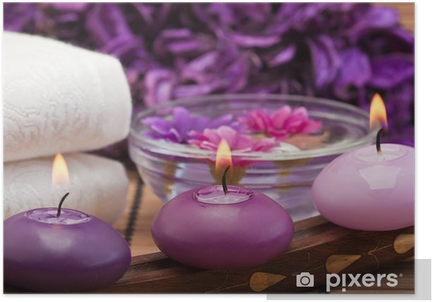 purple candles and flowers in spa setting (1) Poster - Destinations