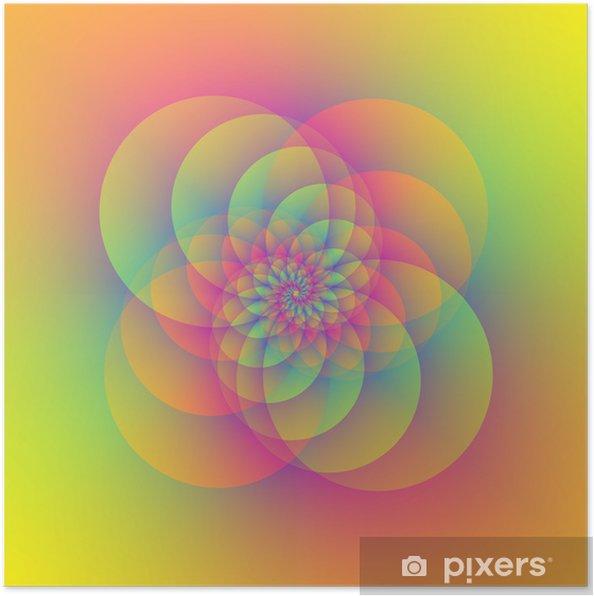 Poster Quatre spirales circulaires - Abstrait