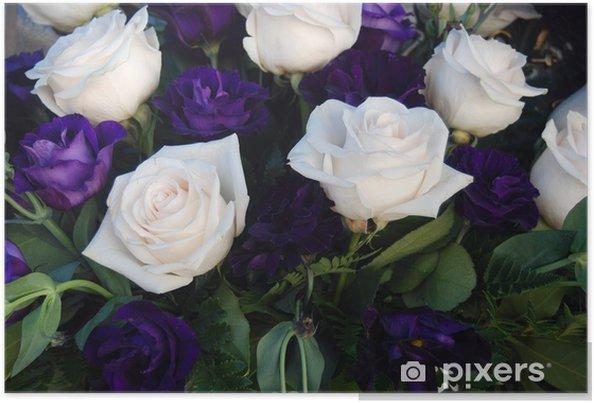Poster Ramo De Flores Rosas Blancas Y Azules Delicado Pixers