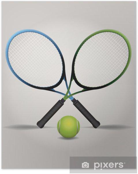 Poster Raquettes de tennis et boule Illustration - Articles de sport
