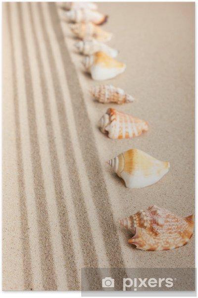 Póster Rayas de conchas acostado en la arena - Vacaciones
