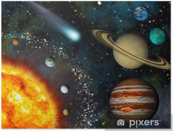 Póster Realista 3D Solar System Wallpaper - Universo