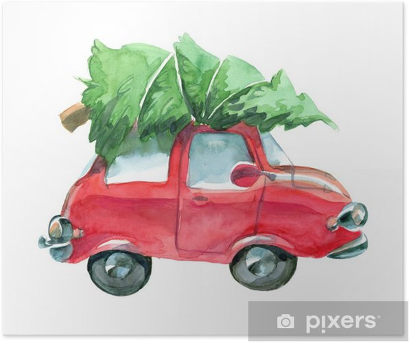 Car Christmas Tree.Red Car With Green Christmas Tree On Top Poster