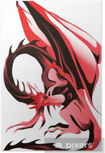 Poster Red dragon - Sticker mural