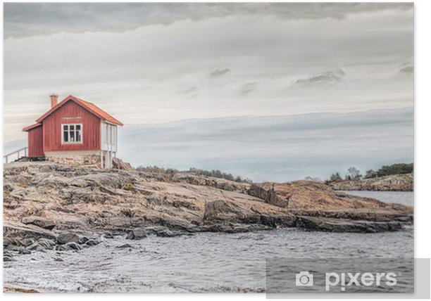 Red house at sea shore in dull colors at autumn Poster - Styles