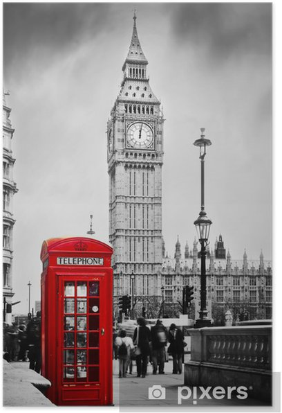 Red telephone booth and Big Ben in London, England, the UK. Poster -