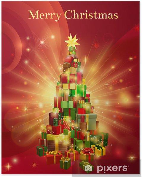 e8b45fe94232d Póster Regalo Feliz Navidad roja del diseño del árbol - Celebraciones  internacionales