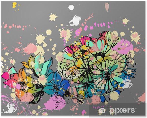 Poster Regenboog bloemen splatter - Stijlen