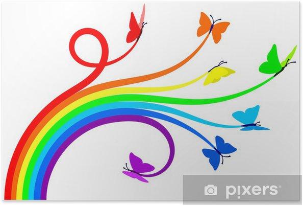 Poster Regenboog vlinders - Muursticker