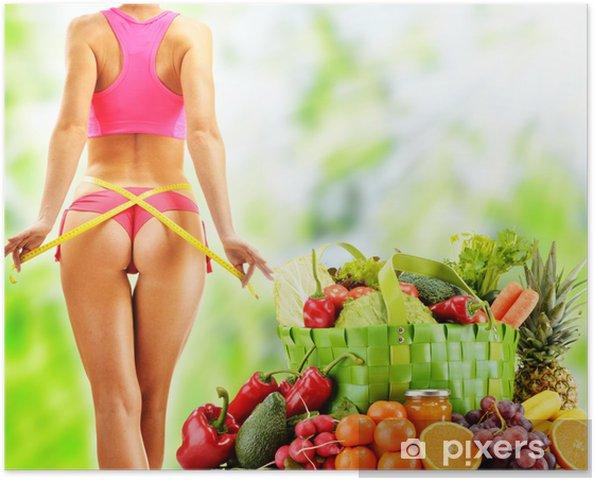 Poster Régime. Alimentation équilibrée à base de légumes crus et biologiques - Repas