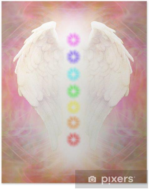 Poster Reiki Angel Wings en zeven chakra's - iStaging