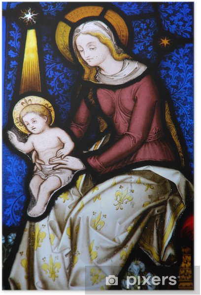 Religious stained glass window Poster - Religion
