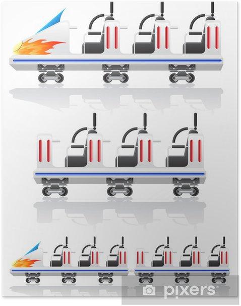 Poster Remorques montagnes russes illustration vectorielle - Jeux
