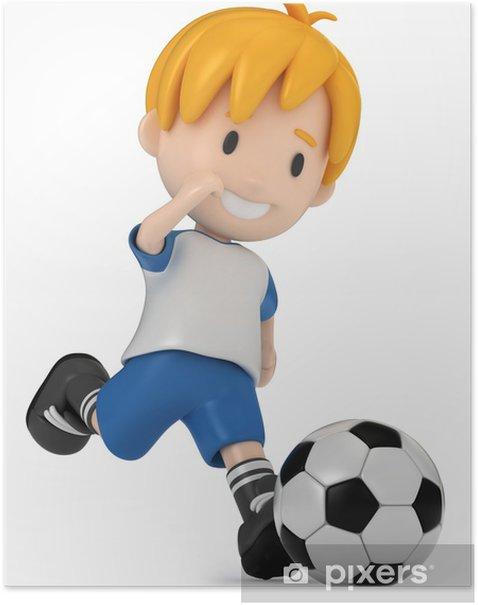 Poster Rendu 3D de Kid coups de ballon de football - Education