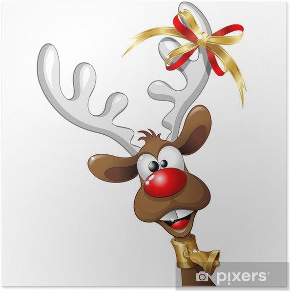 Poster Renna Natale Buffa Fumetto Funny Reindeer Cartoon Vector