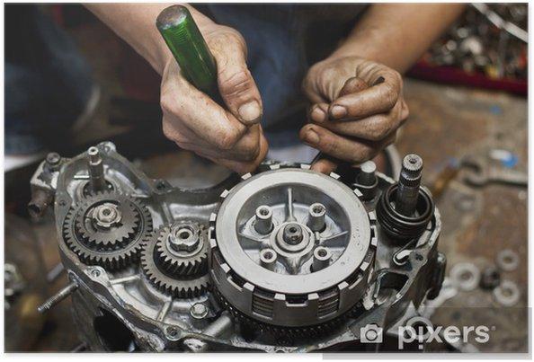 Poster Réparation de moteur de moto - Sports extrêmes
