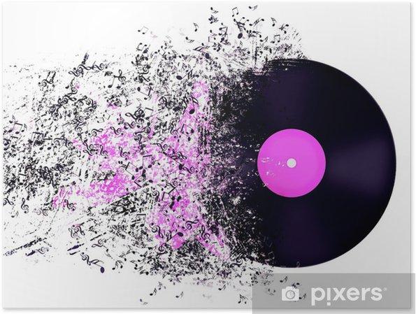 Póster Representación abstracta de disco de vinilo. - Texturas