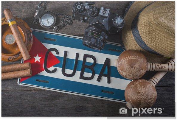 Poster Resa till Kuba, vintage overhead - Amerika