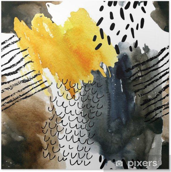Poster Résumé aquarelle seamless aux couleurs d'automne. - Industriel