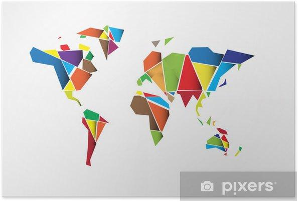 Carte Du Monde Origami.Poster Resume Carte Du Monde De Fond Dans Le Style Polygonal