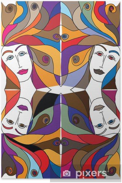 Poster Résumé croquis de visage de femme. Vector illustration. - Mode