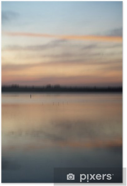Poster Résumé flou paysage coucher de soleil couleurs vibrantes - Eau