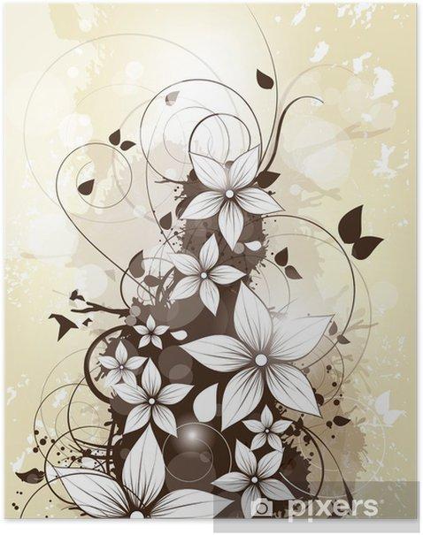 Poster Résumé fond floral de printemps avec des fleurs et des remous - Évènements nationaux