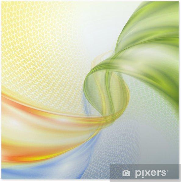 Poster Résumé jaune vert vague de fond bleu - Merveilles naturelles