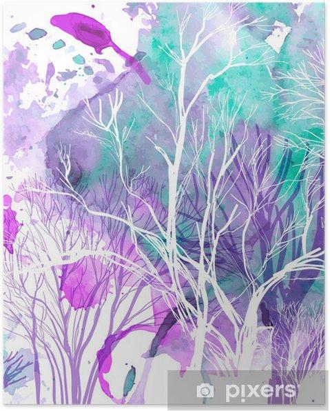 Poster Résumé silhouette des arbres - Styles