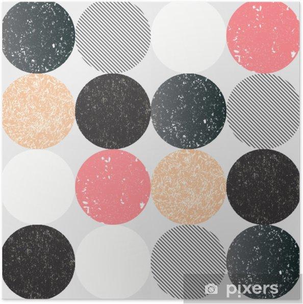 Póster Resumen de patrones sin fisuras con círculos con textura. - Recursos gráficos
