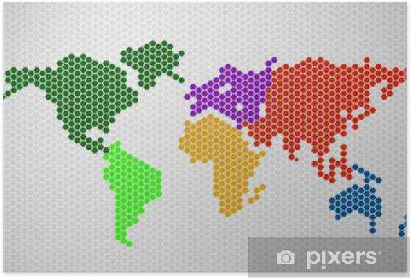 Póster Resumen mapa del mundo de hexágonos. Ilustración del vector. eps 10 - Recursos gráficos