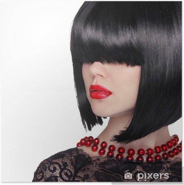 0b697f900c Póster Retrato de la moda. Mujer morena. Estilo de pelo corto Negro ...