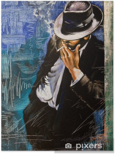 Póster Retrato de un hombre con un cigarrillo - Estilos