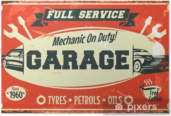 Poster Retro auto service teken. Vector illustratie. - Stijlen