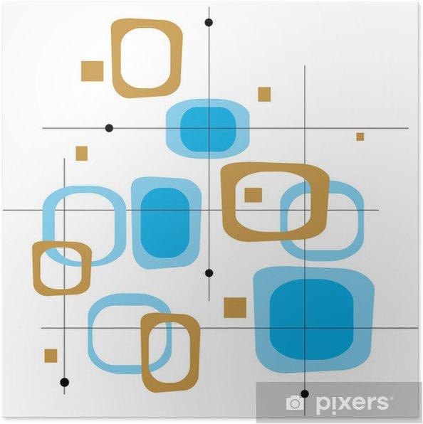 Poster Rétro bleu et brun Squares - Textures