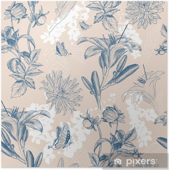Poster Retro bloem vector illustratie - Bloemen en Planten