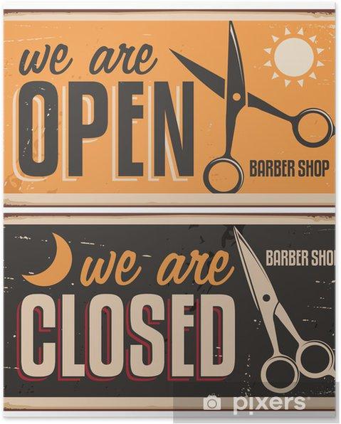 Poster Retro dörrskyltar för frisör - Försäljning